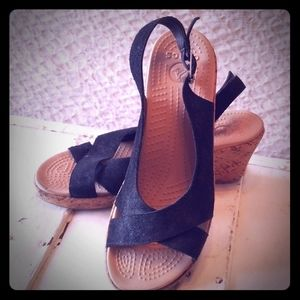 Croc Leather Wedges